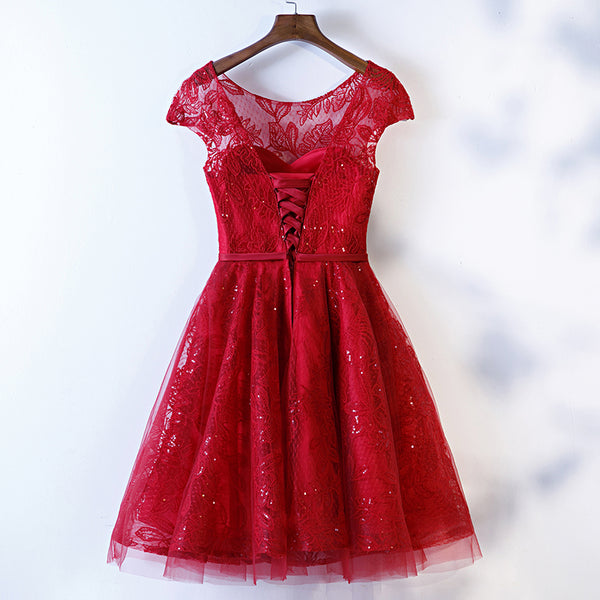 Lovely Dark Red Lace Cap Sleeves Short Party Dress, Wine Red Formal Dress