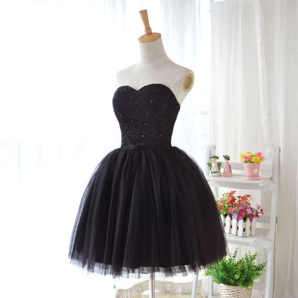 Cute Black Tulle Homecoming Dress, Little Black Formal Dress 2019