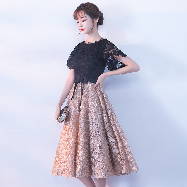 Lovely Black Lace Top Tea Length Party Dress, Black Prom Dress 2020