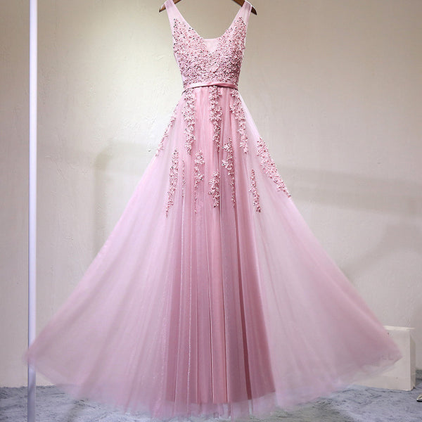 Elegant Pink V-neckline Tulle Prom Dress, Long Bridesmaid Dress