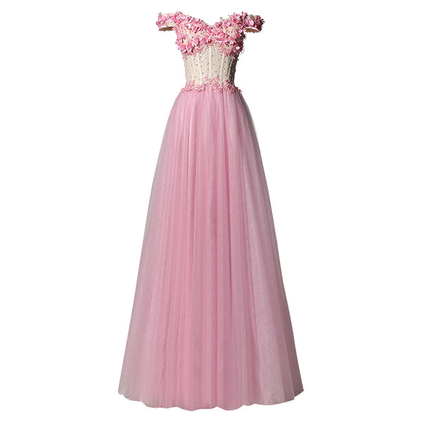 Pink Off Shoulder New Style Long Tulle Prom Dress, New Party Dresses
