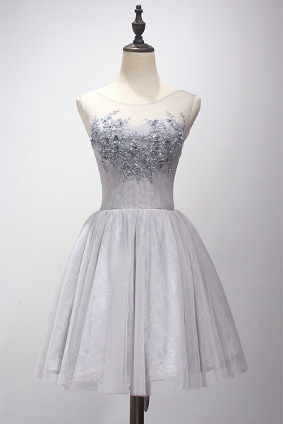 Light Grey Short Applique and Lace Homecoming Dress, Short Prom Dress 2019