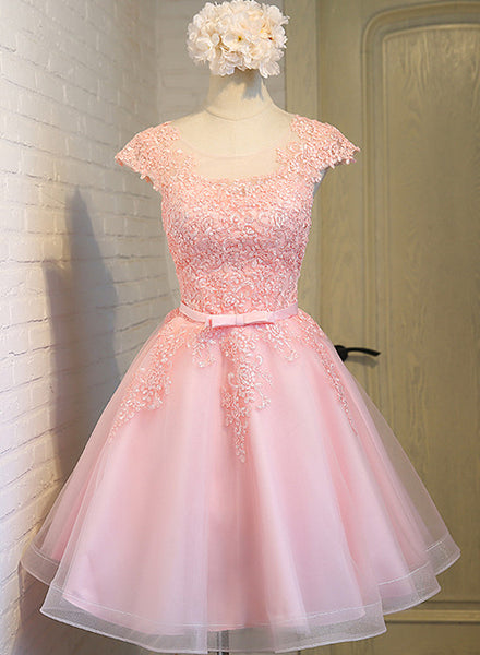 Cute Pink Round Neckline Tulle Party Dress, Pink Cap Sleeves Formal Dress