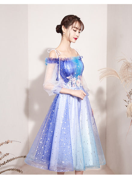 Beautiful Gradient Blue Sparkle Short Prom Dress, Off Shoulder Tulle Homecoming Dress