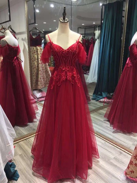 Charming Wine Red Straps Off Shoulder Party Gown, Pretty Formal Dresses 2019