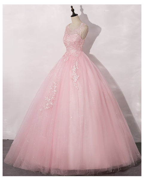 Lovely Pink Tulle Round Neckline Sweet 16 Dress, Pink Quinceanera Dress