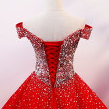 Red Sparkle Tulle Sweetheart Party Dress, Shiny Sweet 16 Dresses