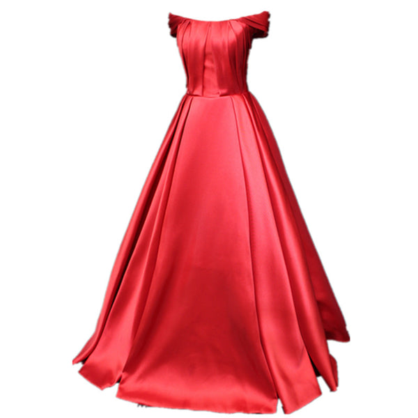 Red Off Shoulder Satin Long Party Dress 2019, Charming Formal Gown 2019