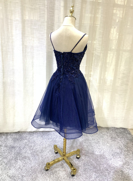 Navy Blue V-neckline Tulle Short Homecoming Dress, Lace Applique Short Party Dress