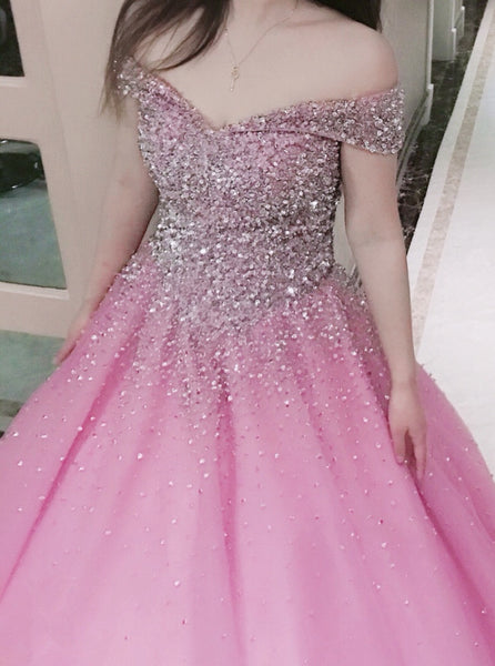 Beautiful Pink Sparkle Off Shoulder Floor Length Lace-up Formal Gown 2019, Prom Gowns 2019