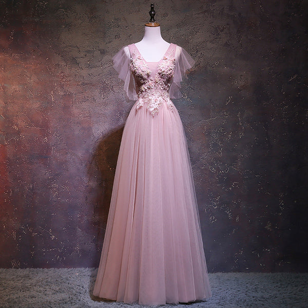 Pink Tulle V-neckline Long Prom Dress, New Pink Wedding Party Dress