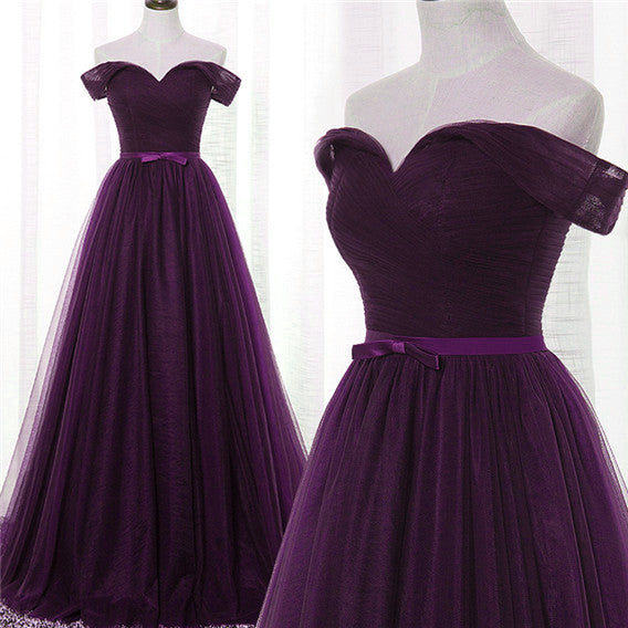 Dark Purple Tulle Off Shoulder Lace-up Formal Gown, Long Senior Prom Dress 2019