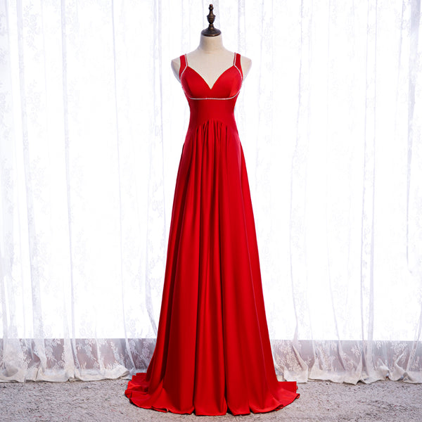 Chic Red Satin Beaded Floor Length Long Party Dress, Red Formal Dress 2021