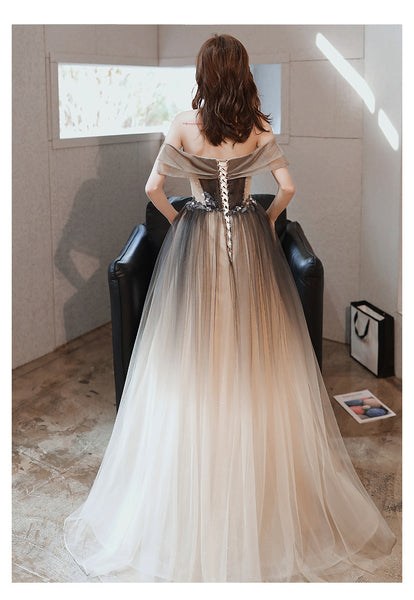 Beautiful Gradient Off Shoulder Tulle Long Party Dress, Sweetheart Prom Dress, Formal Dress