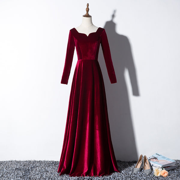 Beautiful Wine Red Velvet Long Sleeves Party Dress, Long Prom Dress