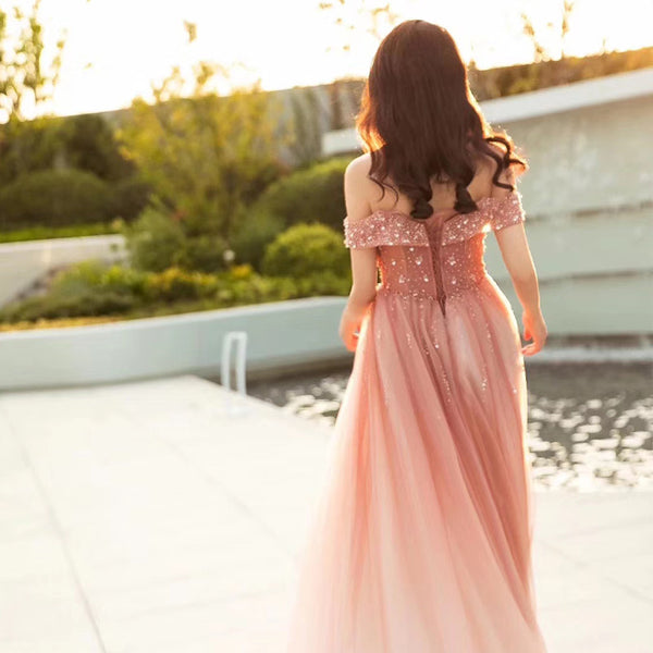 Beautiful Pink Tulle Gradient Beaded Off Shoulder Party Dress, Pink Prom Gown