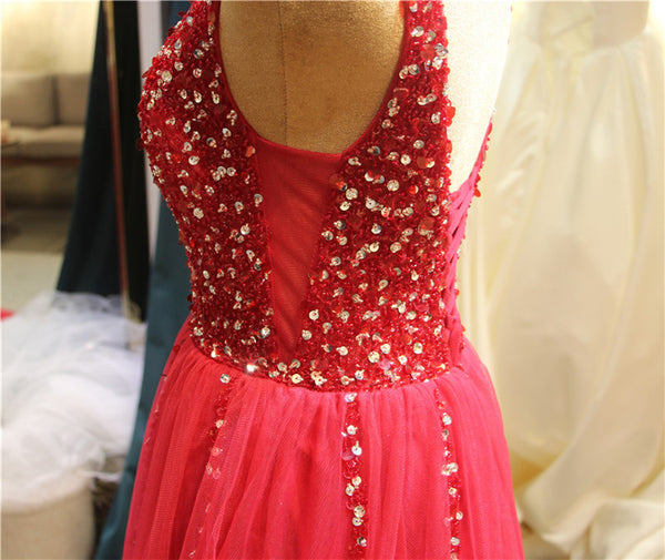 Beautiful Red Tulle Long Prom Dress 2020, A-line Beaded Party Dress
