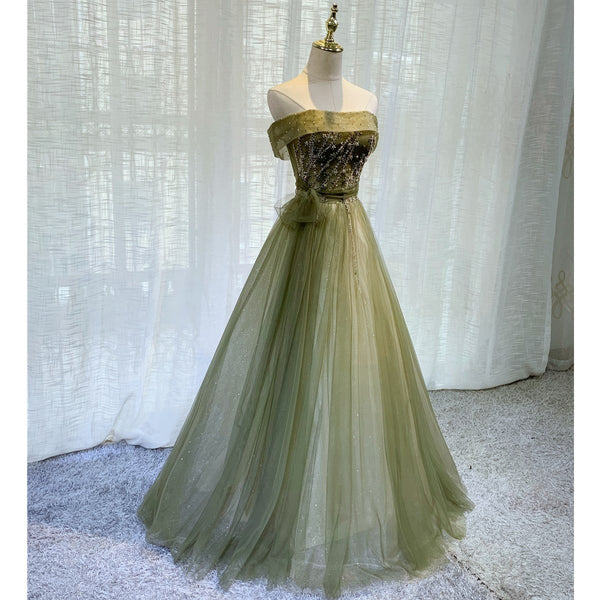 Light Green Tulle Scoop Long Party Gown, Green Bridesmaid Dress