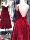 Beautiful Vintage Tea Length Velvet Straps Party Dress, Evening Gowns 2019