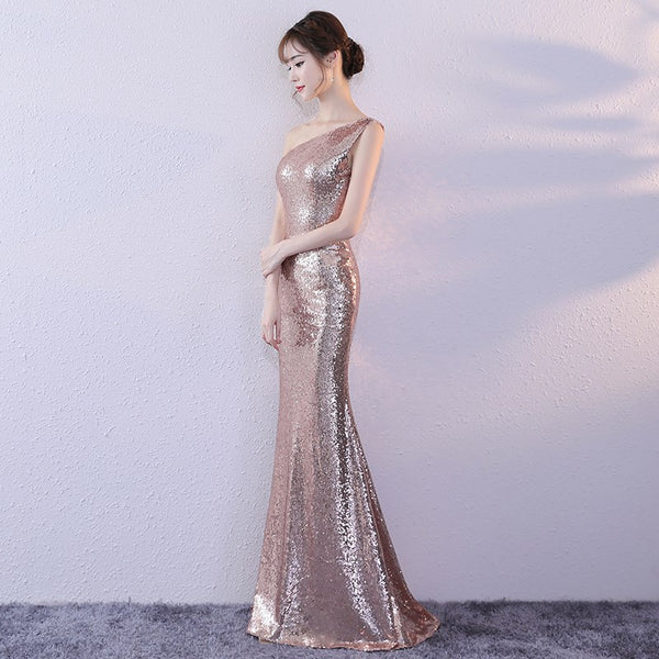 Beautiful Sequins Mermaid Long Prom Dress 2020, Rose Gold Party Dress