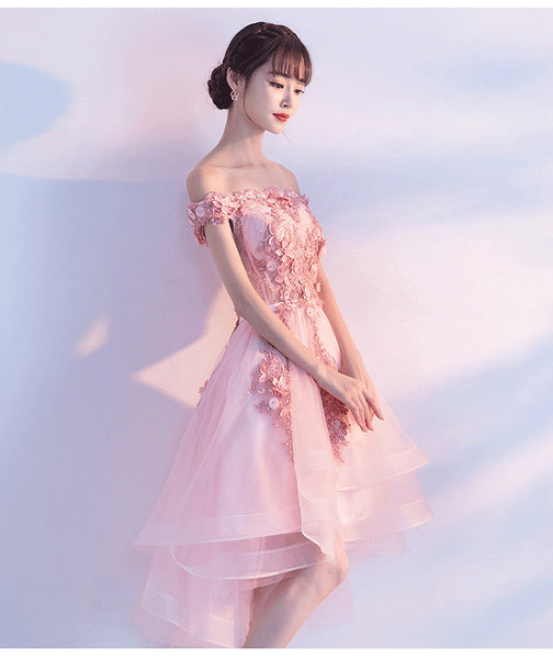 Lovely Pink High Low Party Dress, Tulle Prom Dresses 2019, Long Formal Dress