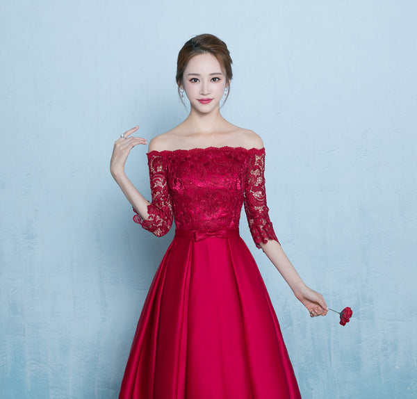 Cute Red Off Shoulder Lace and Stain Short Prom Dress, Red Bridesmaid Dress