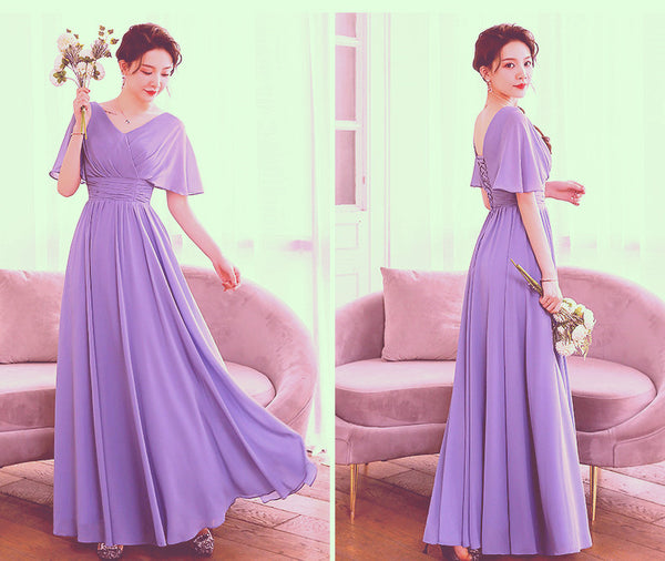 Beautiful Light Purple Chiffon V-neckline Prom Dress, A-line Floor Length Bridesmaid Dress