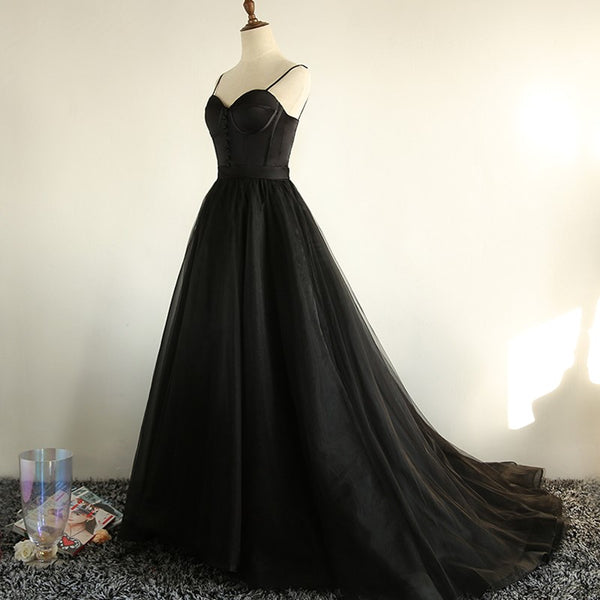 Charming Black Long Party Gowns, Black Evening Prom Dress