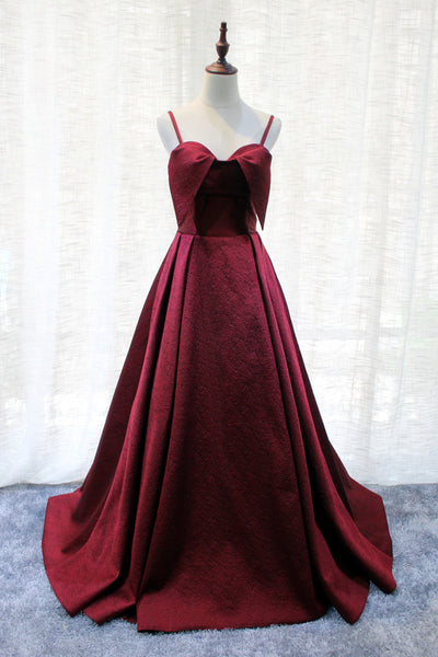 Beautiful Satin Wine Red Straps Long Party Gown, Handmade Formal Dress 2019