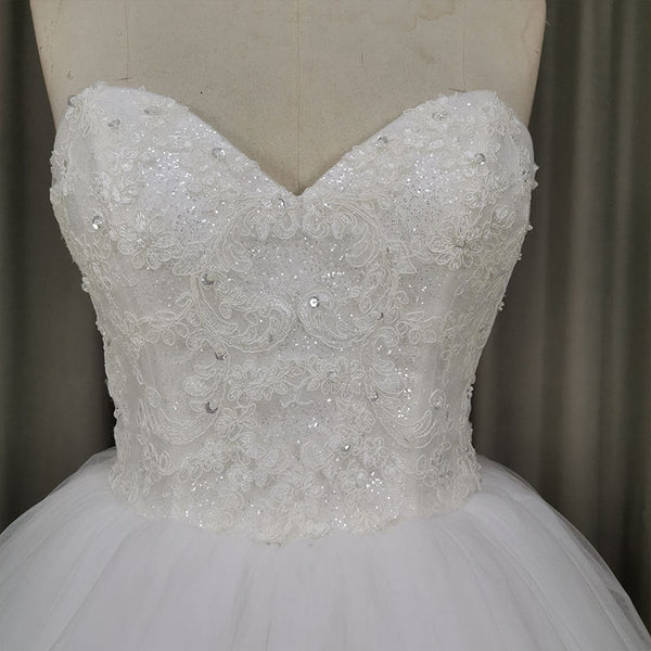 Elegant Sweetheart Tulle Ball Gown Wedding Dress, Handmade Wedding Gown