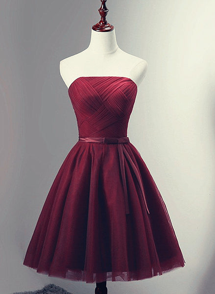 Beautiful Simple Wine Red Tulle Short Party Dress, Knee Length Prom Dress