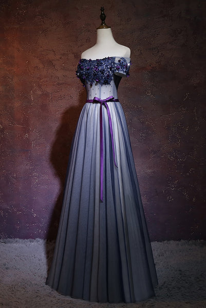 Lovely Navy Blue Tulle Off Shoulder Long Party Dress, A-line Floor Length Evening Dress