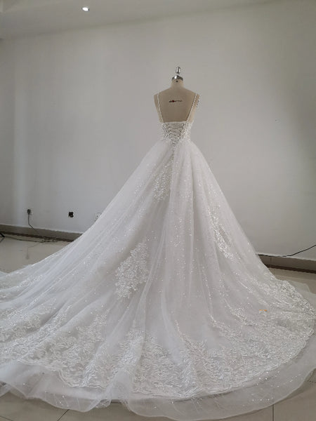 Beautiful Handmade Straps Lace Tulle Wedding Dress, Long Bridal Gown