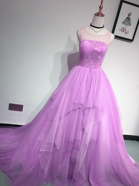 Glam Light Purple Tulle High Low Beaded Layers Party Dress, Formal Dress 2019