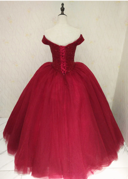 Beautiful Wine Red Off Shoulder Sweet 16 Gowns, Party Dresses 2019, Sparkle Formal Dress