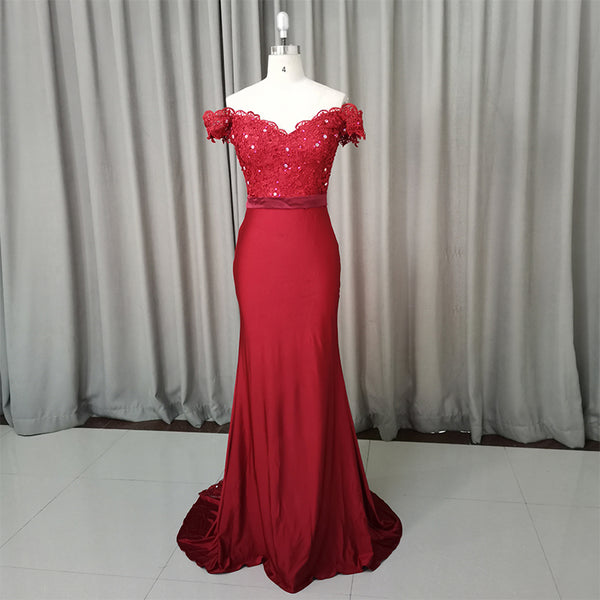 Beautiful Dark Red Mermaid Spandex Long Party Dress, Pretty Prom Dress