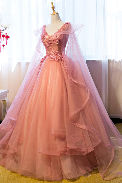 Pink Tulle Sweet 16 Party Dress with Lace Applique, Long Formal Gown