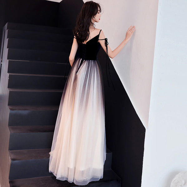 Charming Black Gradient Tulle and Velvet Long Party Dress,Black Party Dress