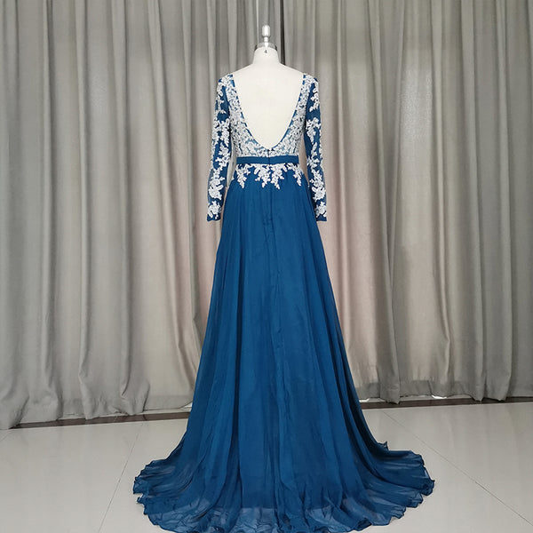 Beautiful Chiffon Long Sleeves Party Dress with Lace Applique, Prom Dress 2020