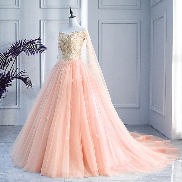 Pink Off Shoulder Tulle with Flowers Ball Gown Sweet 16 Dress, Pink Quinceanera Dress