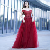 Fashionable Dark Red Off Shoulder Style Long Prom Dress, A-line Evening Gown