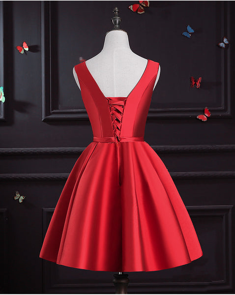Dark Red Satin Homecoming Dress, Short Prom Dress 2020