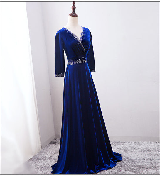 Beautiful Royal Blue Beaded Long Sleeves Wedding Party Dress, Blue Prom Dress