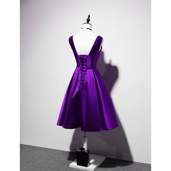 Elegant V-neckline Satin Purple Short Prom Dress, Purple Bridesmaid Dress