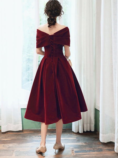 Beautiful Wine Red Velvet Tea Length Party Dress, Bridesmaid Dress
