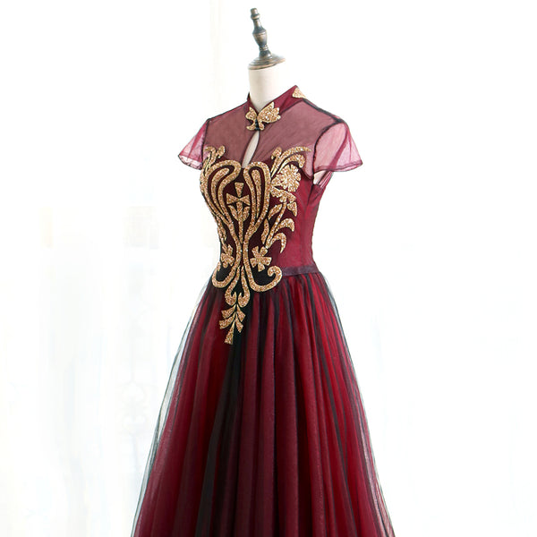Charming Wine Red Cap Sleeves Long Tulle Evening Gown, Long Formal Dress 2019