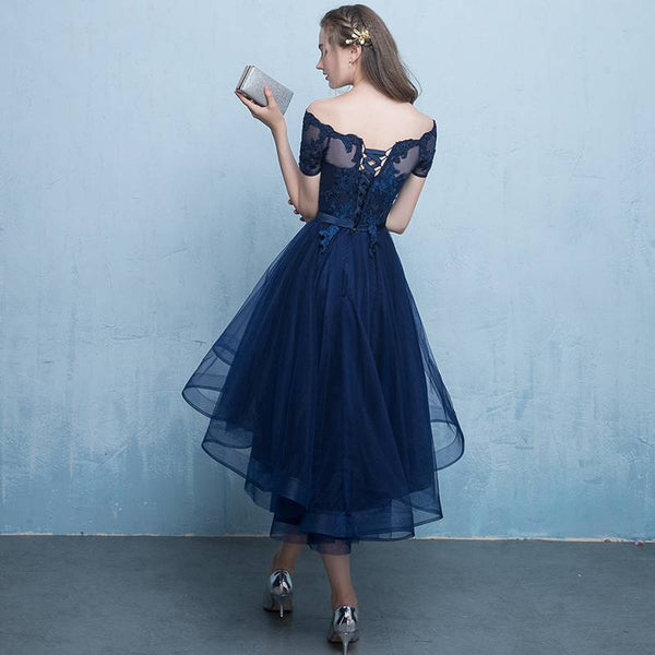 Fashionable Tulle High Low Party Dress 2020,Off Shoulder Homecoming Dress