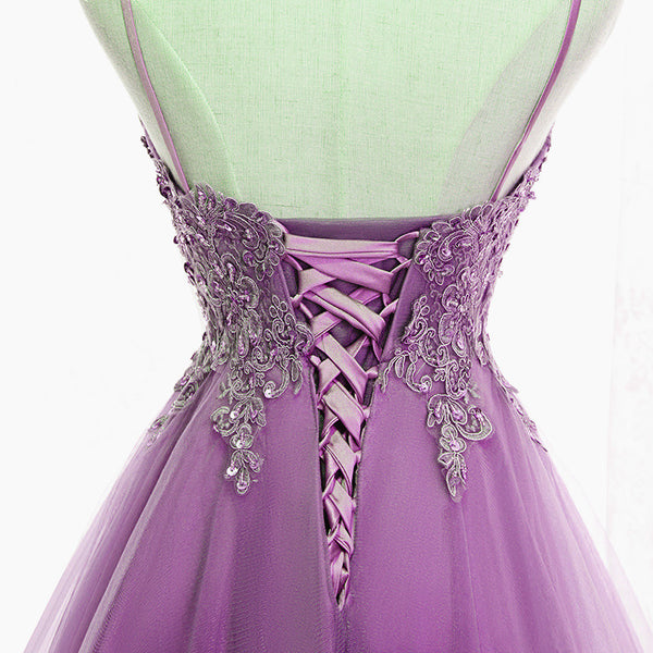 Cute Light Purple Fashionable Homecoming Dress, High Low Straps Prom Dress