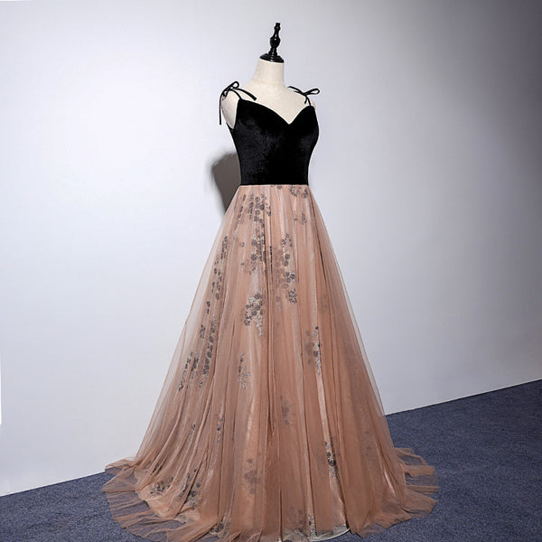 Sexy Champagne Tulle with Black Velvet Prom Dress, Straps Party Gown
