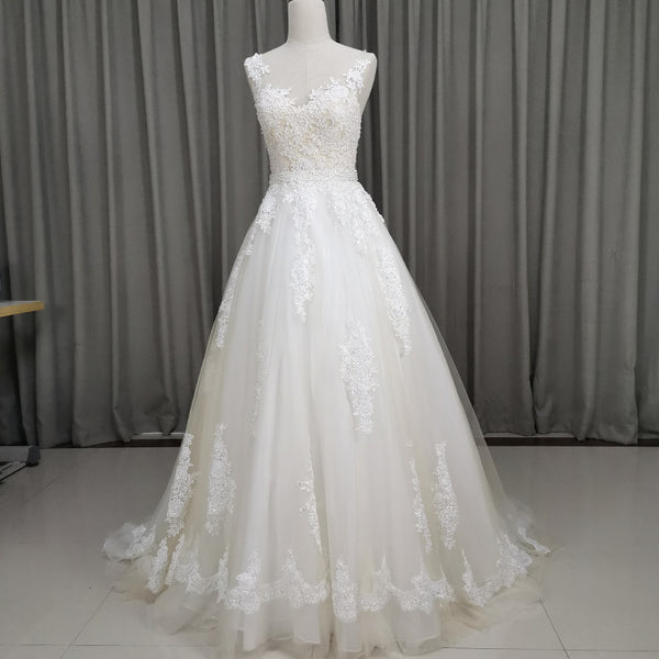 Beautiful Ivory Wedding Dress, Handmade Lace and Tulle Bridal Gown